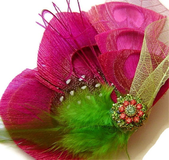 Bridal Peacock Feather WATERMELON Pink and Green Bridal Hair Fascinator Clip with Vintage Rhinestone Jewel OOAK and Skeleton Leaf