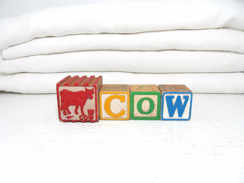 Vintage Letter Blocks- Cow - elizabethwrenvintage