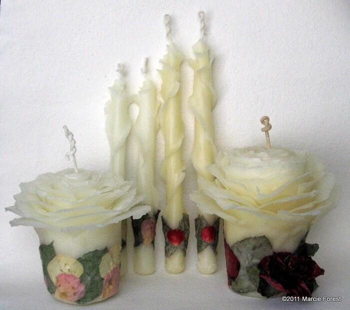 Свеча Роза Set - дом для отдыха Декор, Эко подарков люкс, свадебные свечи - чистый пчелиный воск, лепестками роз - Уникальные свечи по исполнителю Марси Лесная