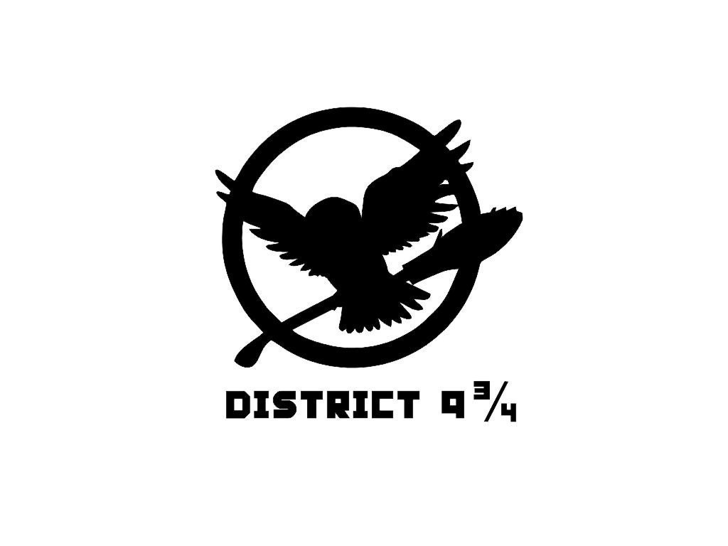 "Wizard Owl Hedwig District 9 3/4 (Hunger Games Mockingjay Logo) Custom Made Vinyl Decal Sticker - 3.4"" x 3.5"" - 28 Color Options"