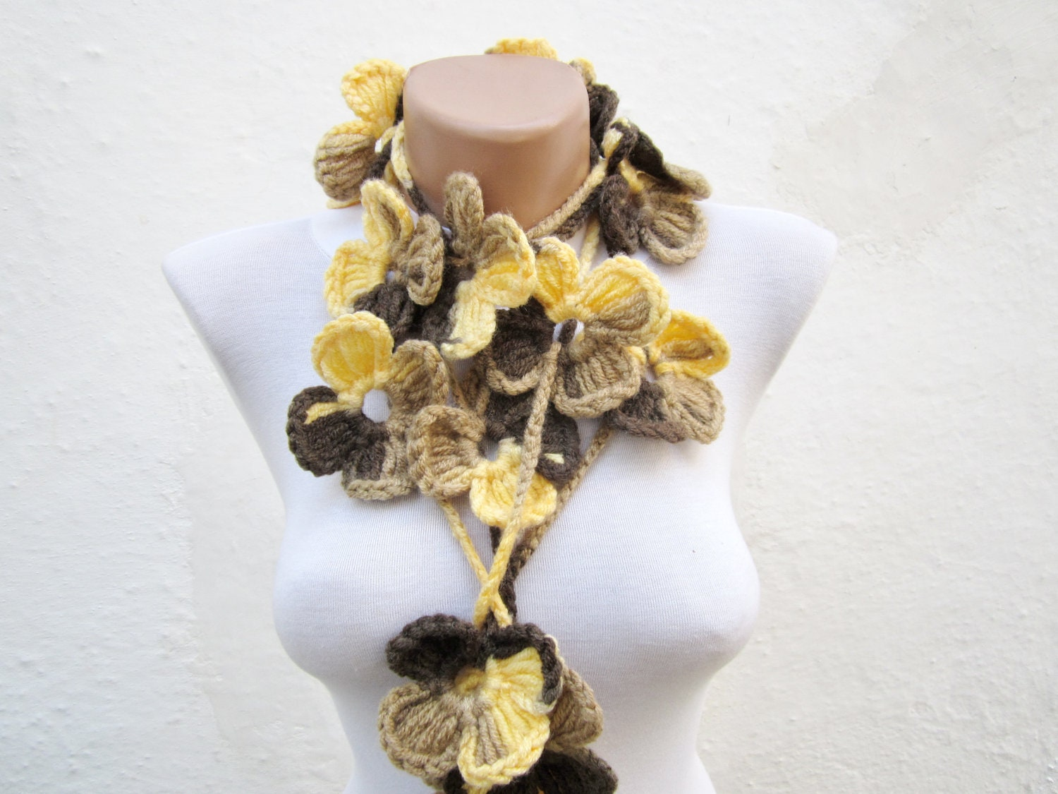 SALE % 20 - Was 25 Now 20- Hand crochet Lariat Scarf Yellow Brown  Flower Lariat Scarf Colorful Variegated Long Necklace Holiday Accessories - nurlu