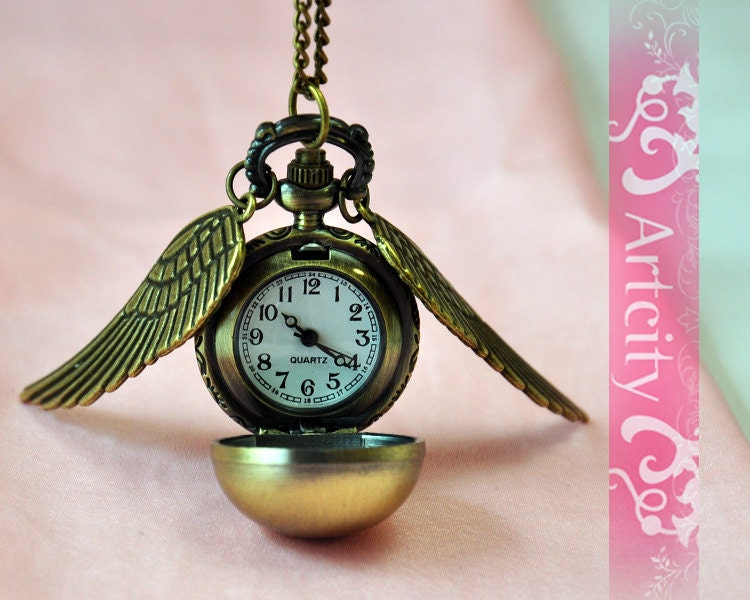 Harry Potter Golden Snitch Watch Necklace, with Golden double side wings