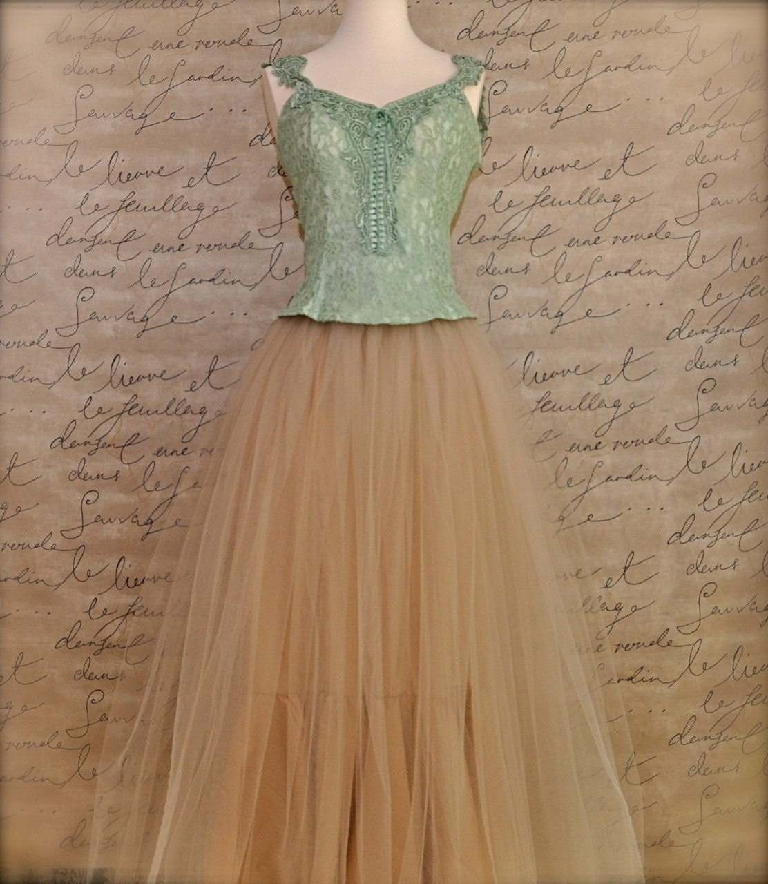 Champagne beige tutu skirt full length for women.