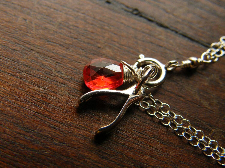 Silver Wishbone Pendant with red Zircon - Lily Limited Edition Custom Birthstone Sterling Silver Bracelet - LoellaMedina
