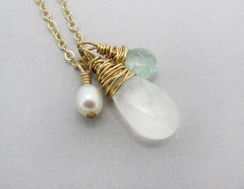 briolette gemstone necklace gold necklace moonstone necklace tourmaline briolette gold chain necklace hostess gift under 50 - SharonClancyDesigns