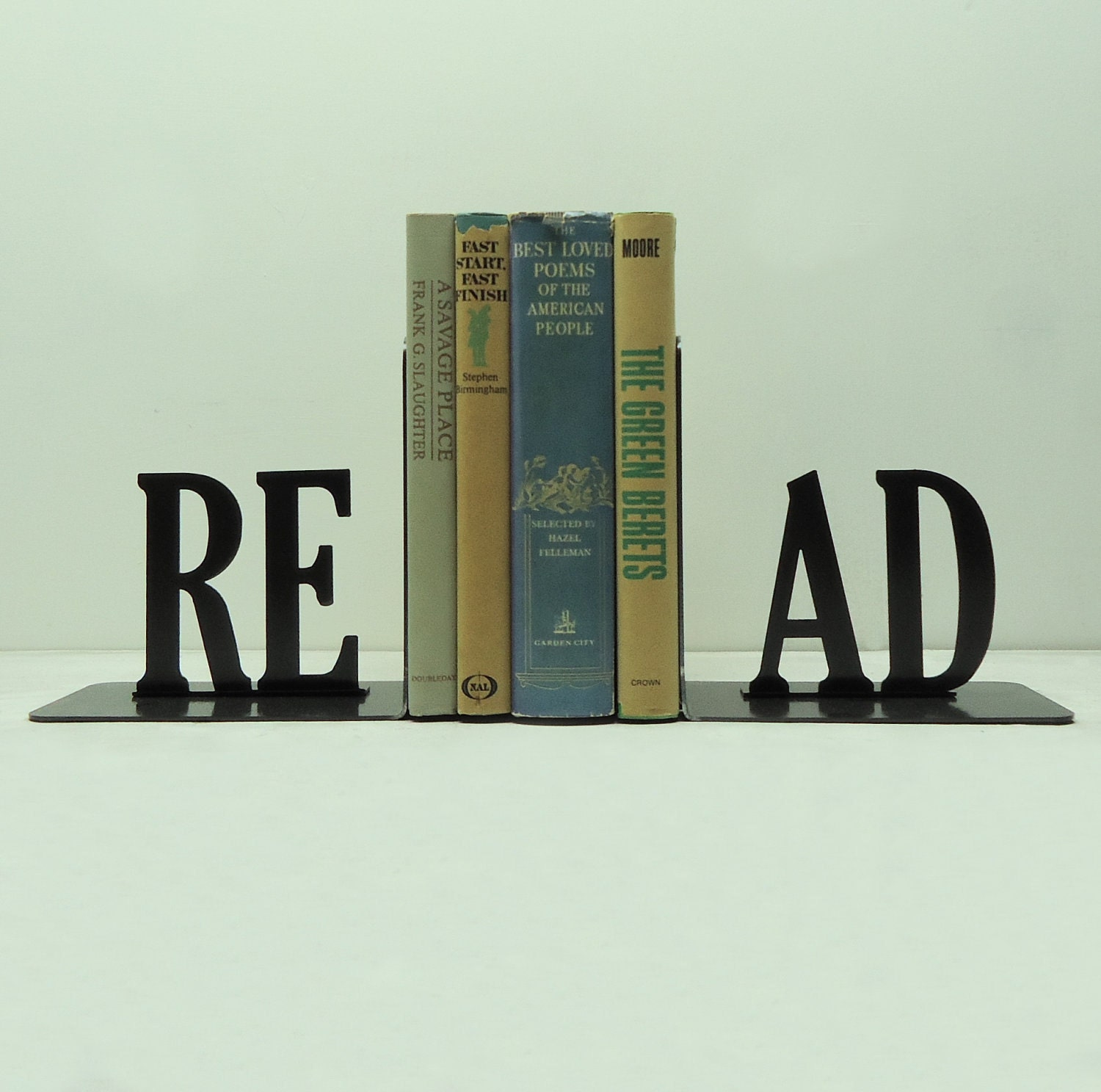 Read Text Bookends by Knob Creek Metal Arts