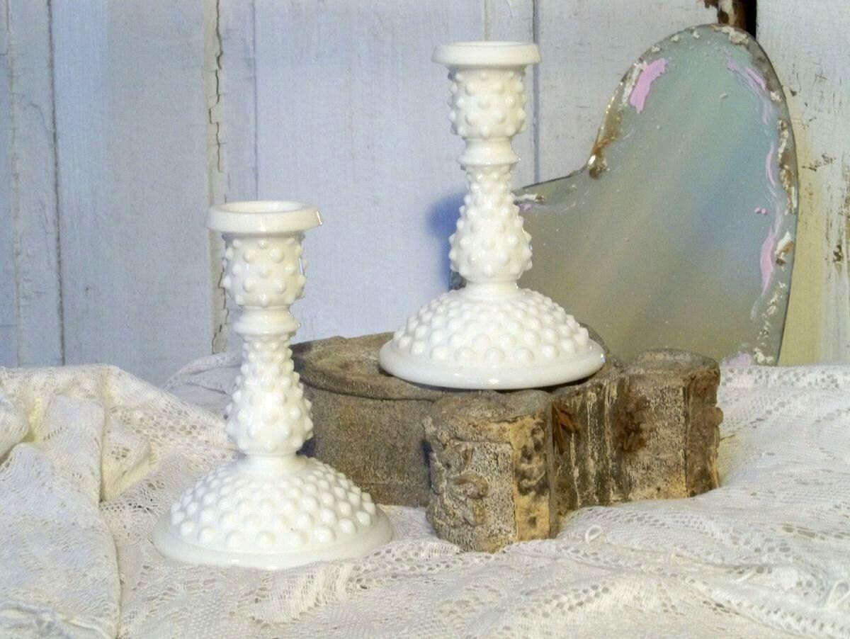 Vintage hobnail Fenton white milk glass candle holders - AnitaSperoDesign