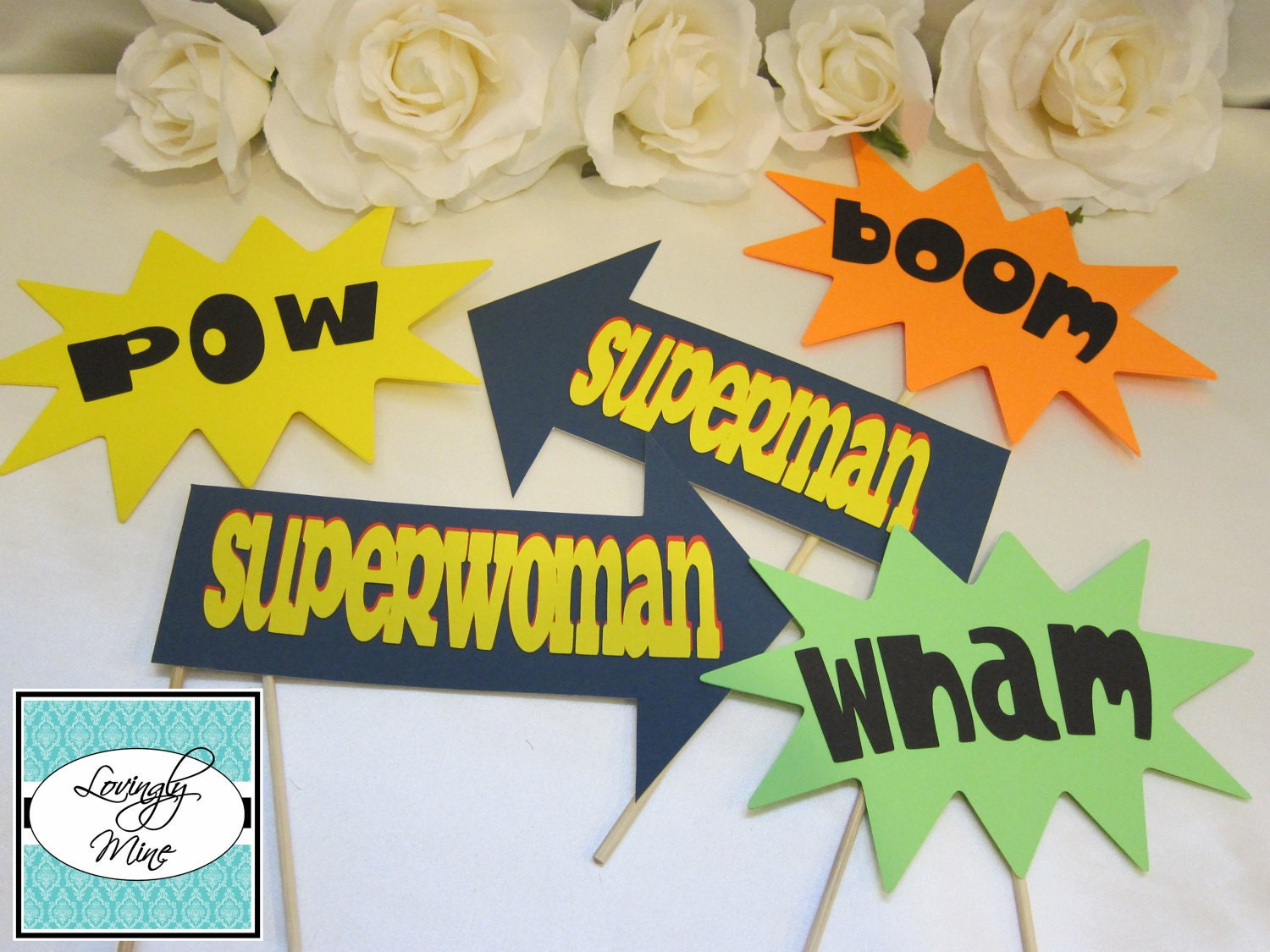 Photobooth Props - Colorful Comic Book Action Word Thoughts & Arrow Set - 5 Piece Set - Superman, Superwoman, Boom, Wham and Pow