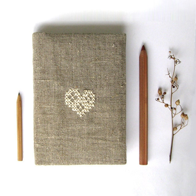 Rustic cozy notebook or journal cover fabric embroidery gift under 25