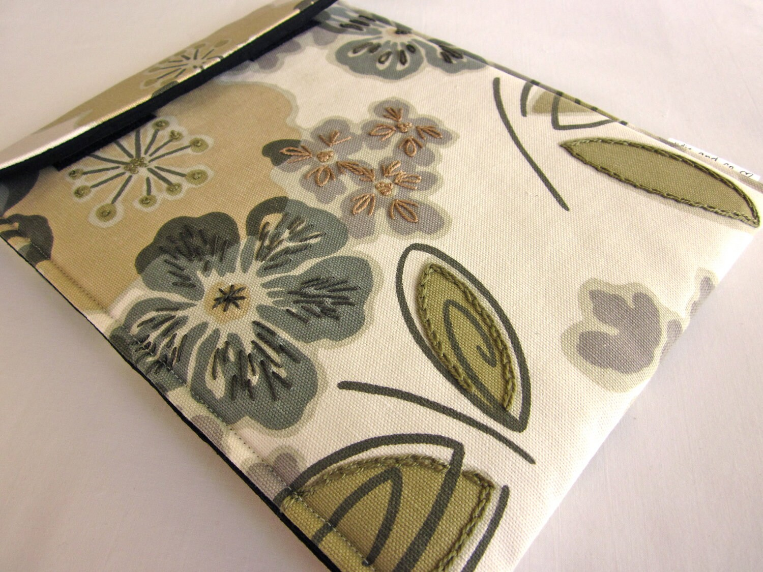 iPad case - hand embroidered iPad 2, 3 cover - gadget tablet sleeve - modern garden in neutrals - quilt lined slim design - julieandco2