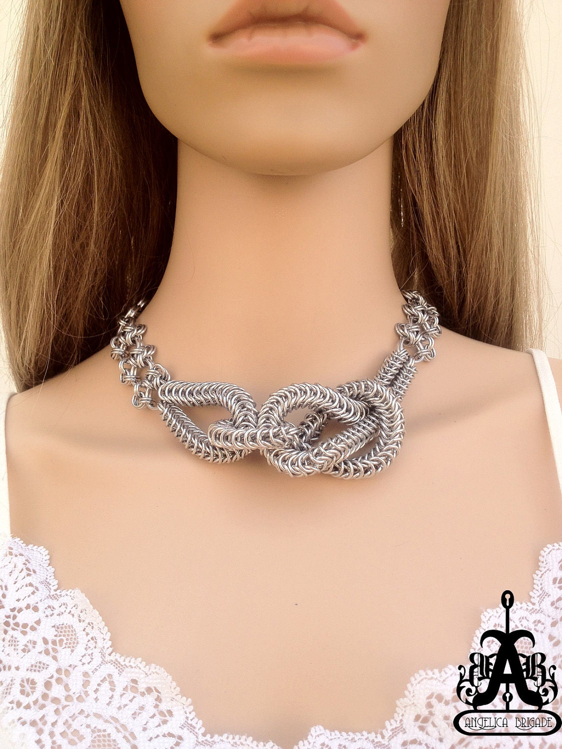 Knotted Chain Maille Statement Necklace - FREE SHIPPING