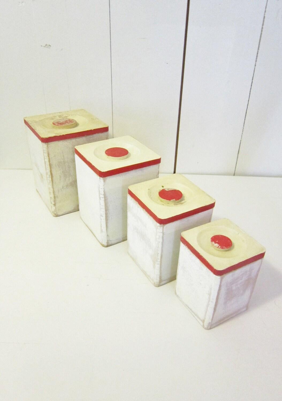 Vintage holt howard 1960 wood canister set