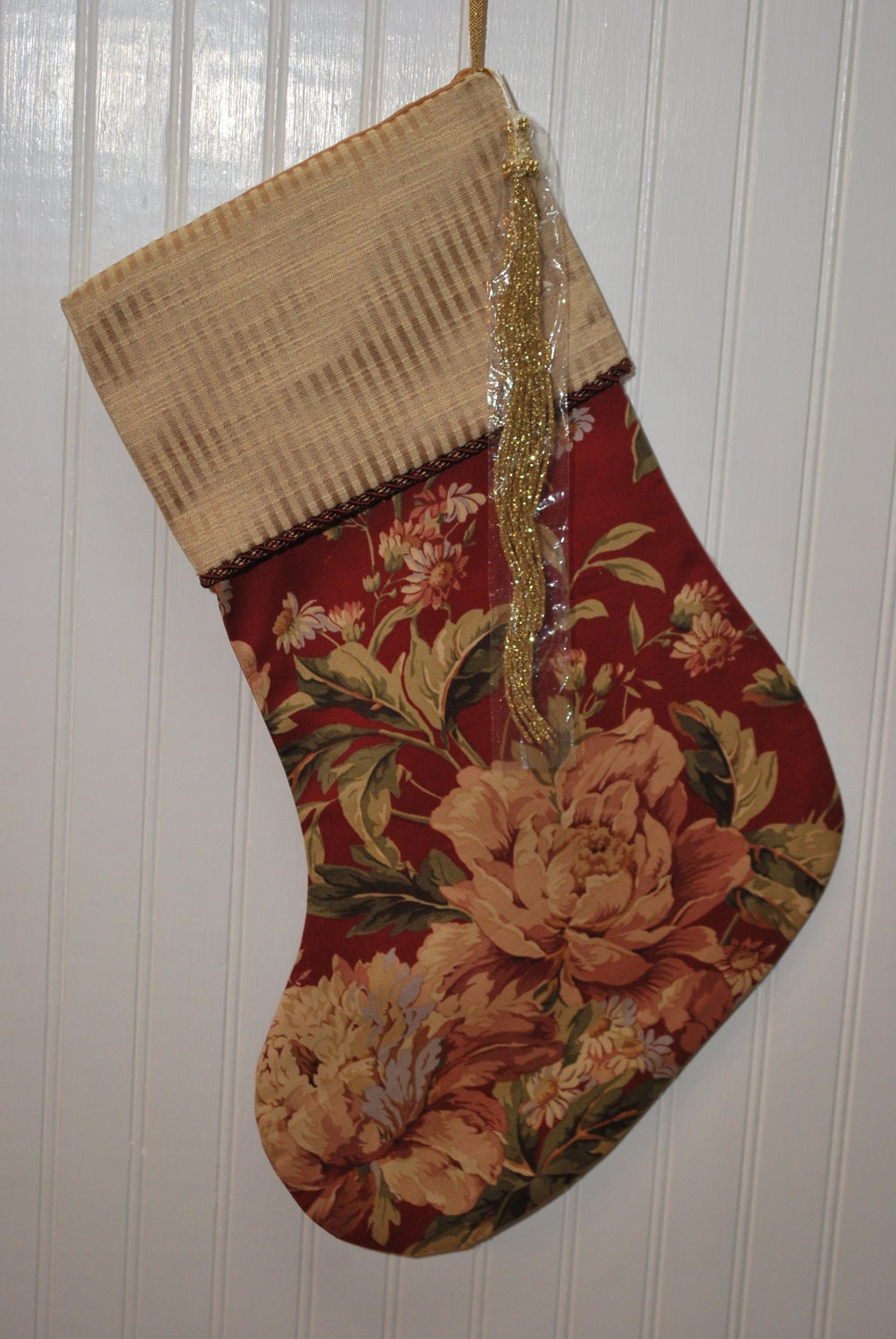 Christmas Stocking Red Floral, Gold Cuff, Glitzy Gold Bling Glitter Tassel