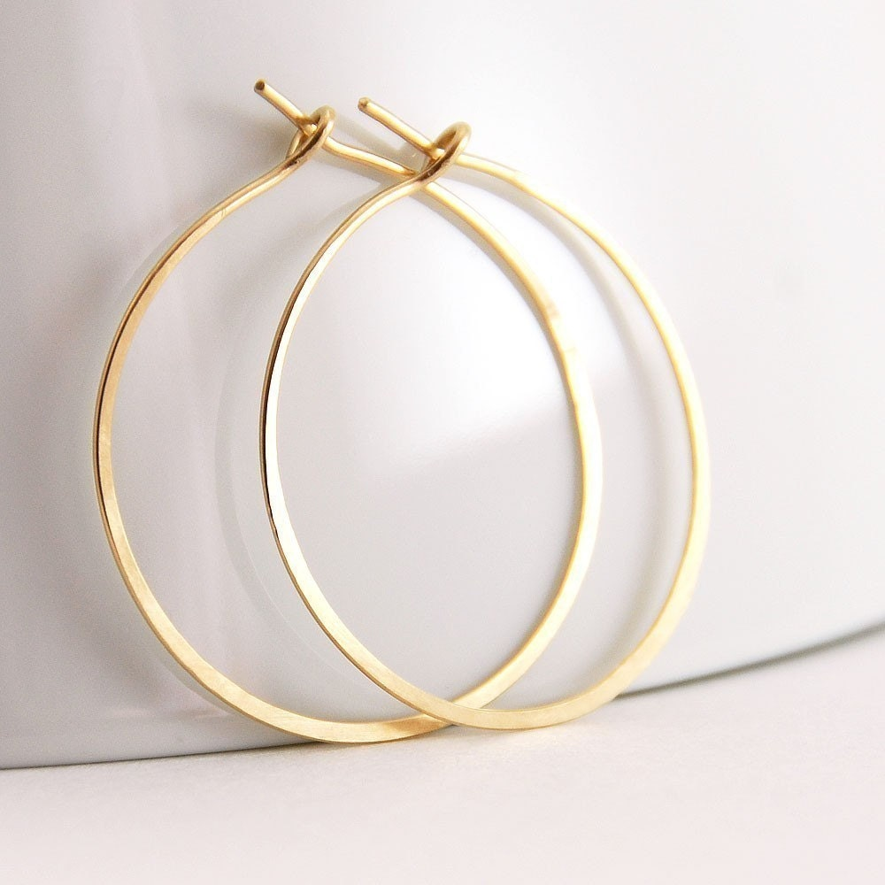 Gold Hoop Earrings, 14k Gold Fill,  Handmade - aubepine