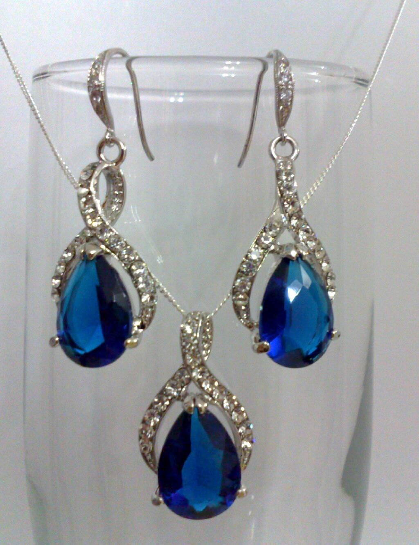 Something Blue Wedding Jewelry, Bridal Party Bridesmaids Earrings, Saphhire Virgo Birthstone, BLUE TWIRL SET