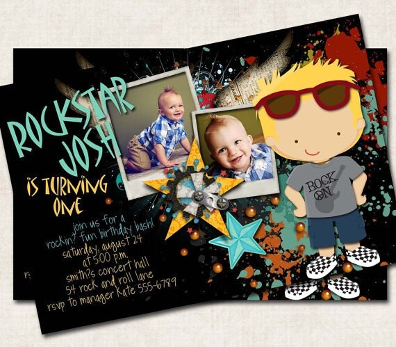 Rockin 39 Rockstar Birthday Invitation black grey teal yellow Digital File