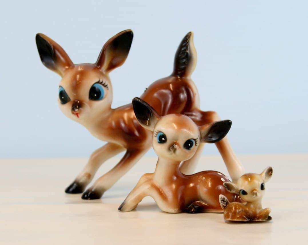 vintage plastic deer figures