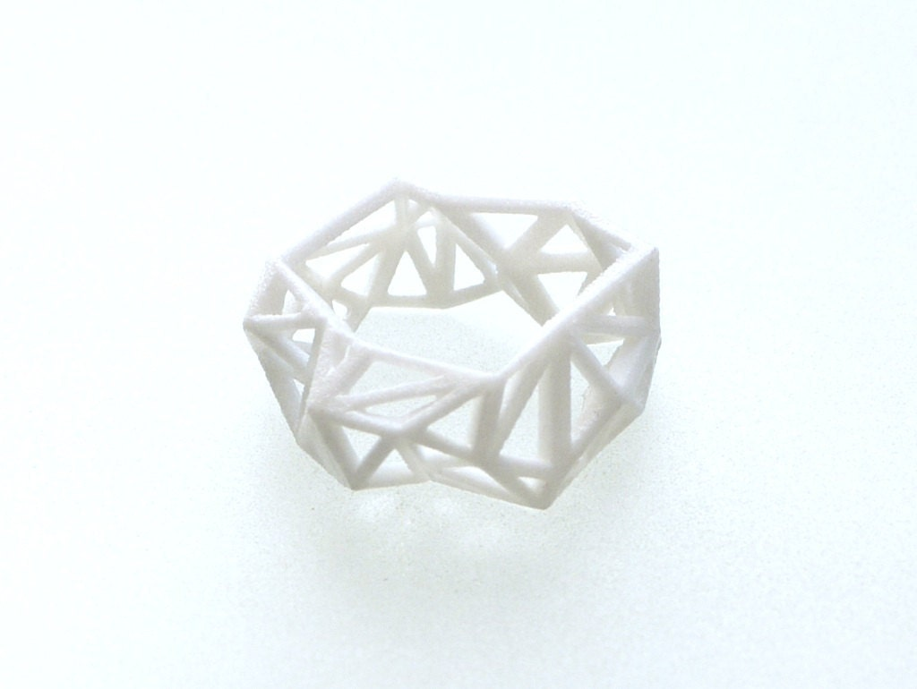 winter fashion, white geometric ring - Triangulated Ring in White. 3d printed. statement jewelry - ArchetypeZ