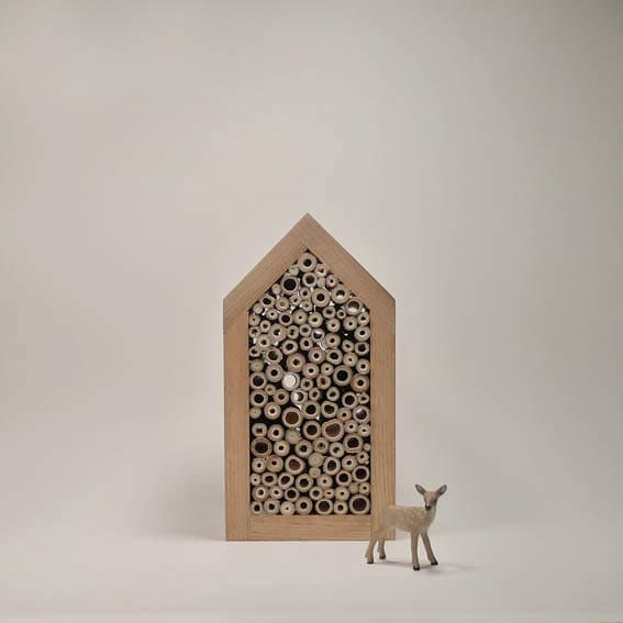 Spring time, Craftsman house for Solitary bee, wild bee house, minimalist eco friendly woodland design - TheBirdOnTheTree