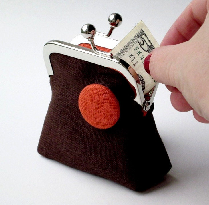 Brown and orange linen change purse with matching button ... womens coin purse ... travel jewelry purse - ByMyTouch