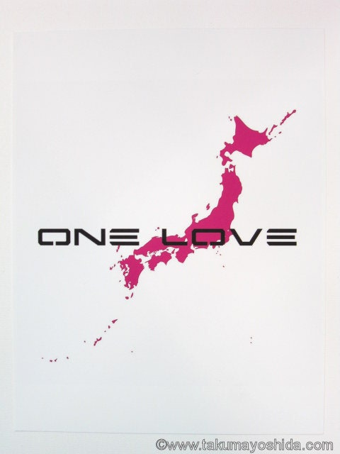 ONE LOVE JAPAN pink giclee print on archival paper