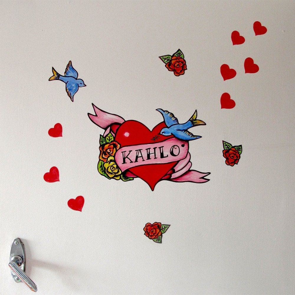 Heart Door Tattoo Wall stickers fabric reusable by Stickytiki