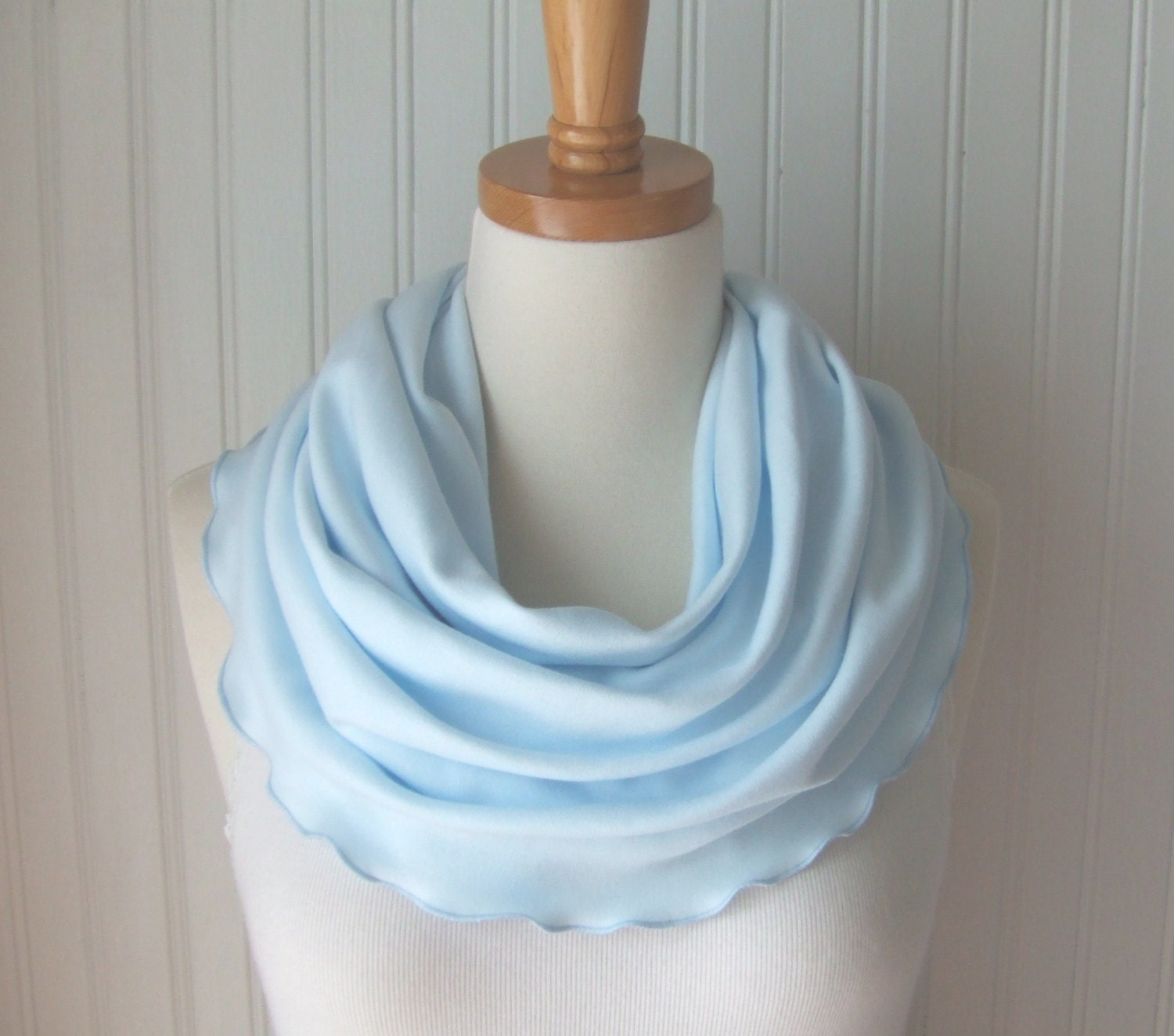 Robins Egg Blue Ruffled Jersey Infinity Scarf - Circle, Loop, Cowl Scarf - Summer Fashion - JANNYSGIRL