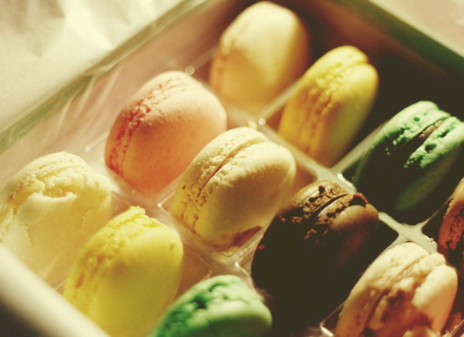 French Macarons Photo, 5x7 Fine Art Print, Food Photography, Kitchen Art, French Pastry, Home Decor - bytruenorth