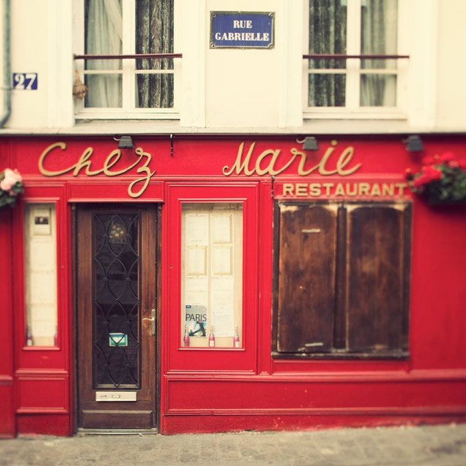 Chez Marie, Paris Photo, Romantic Travel Photograph, Valentine, France, Bistro Restaurant in Red and Creamy White - EyePoetryPhotography