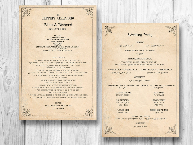 Order of Wedding Reception Program