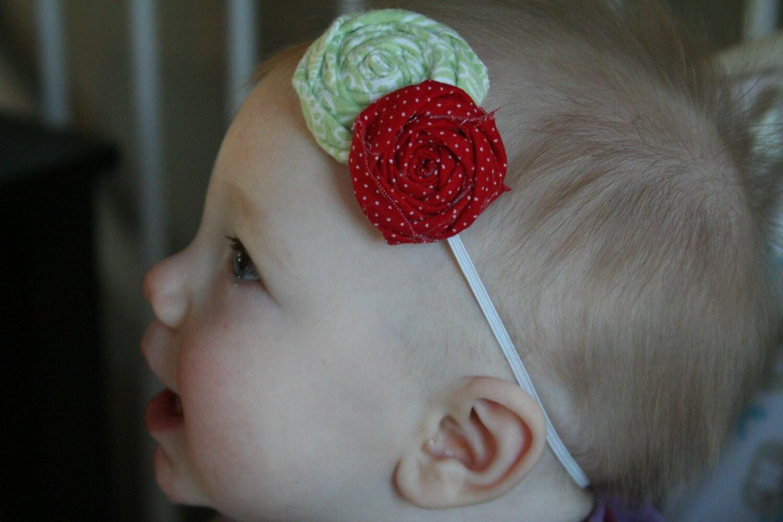 Baby Girl Flower Headband--Baby Girl Headband--Baby Girl Christmas Flower Headband