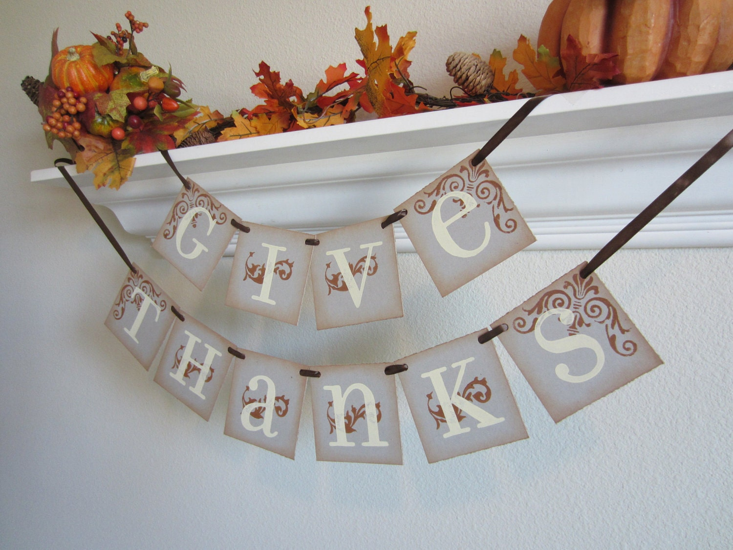 GIVE THANKS Thanksgiving Sign / Banner / Garland