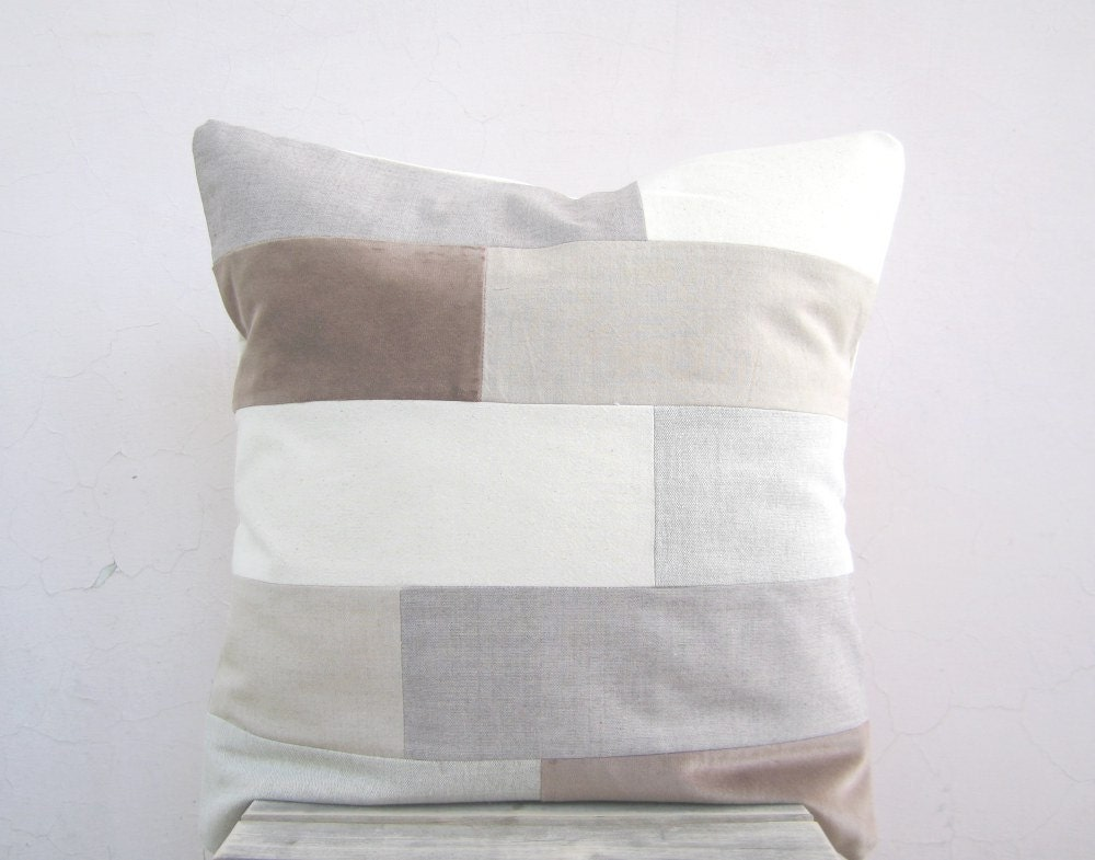 Modern throw pillow: neutral earth tones in geometric stripes, eco friendly organic cotton pillow cushion - EarthLab