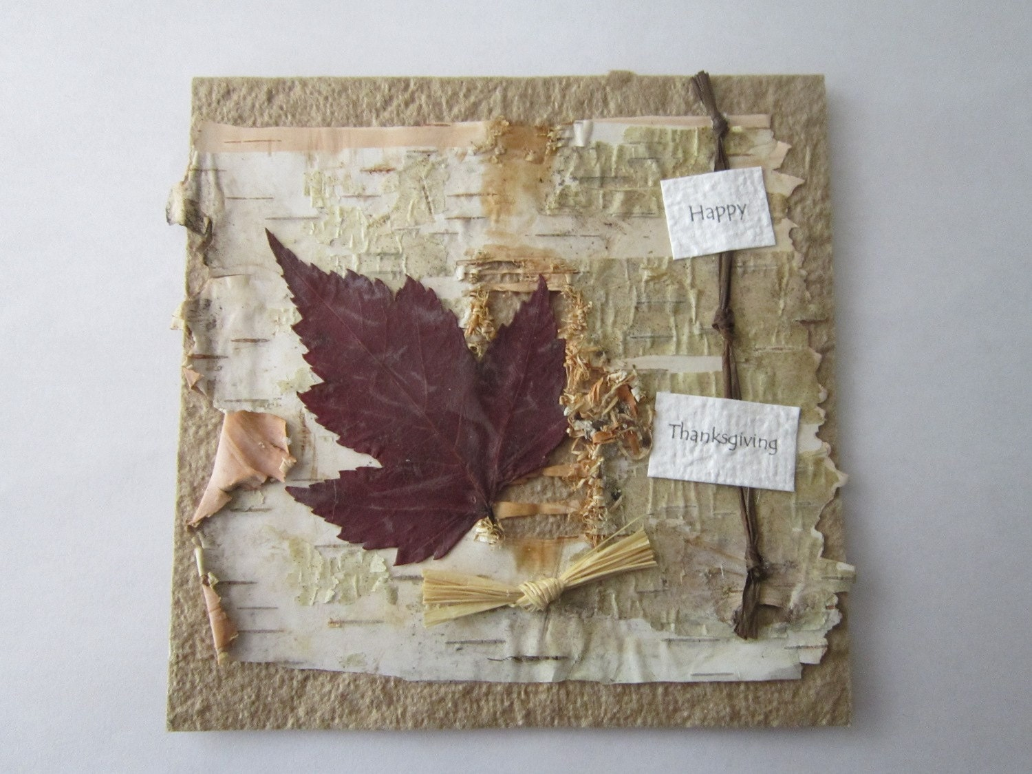 Handmade Paper Thanksgiving Card - Thank You Card - CIJ - Christmas in July - 100% Recycled Paper Card - Eco Friendly Card - - ElodiesShop
