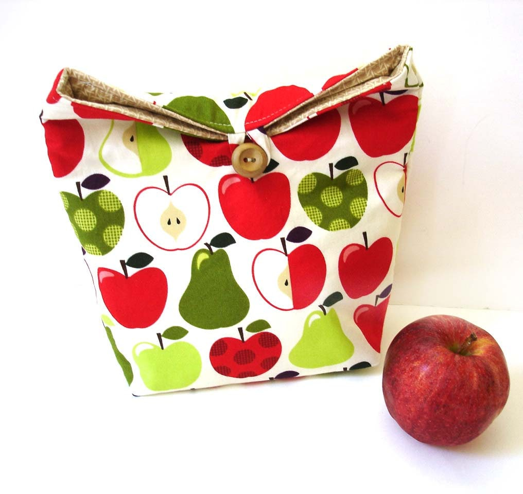 Eco friendly lunch tote bag reusable apples lime green red lunchtime modern fold over - NancyEllenStudios