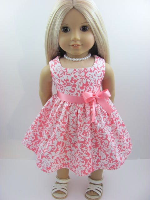 Coral Pink Damask  Doll Dress and Sash for the American Girl Doll