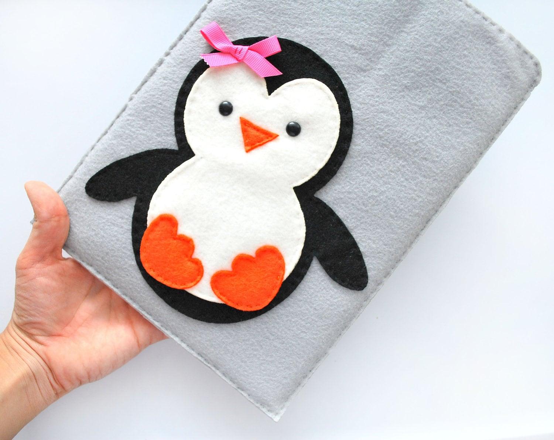 Penguin Ipad Cover - iPad Pouch , Handmade felt iPad Sleeve