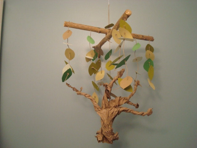 Gnarly Tree Leaves Baby Mobile - green brown neutral recycled - boy or girl