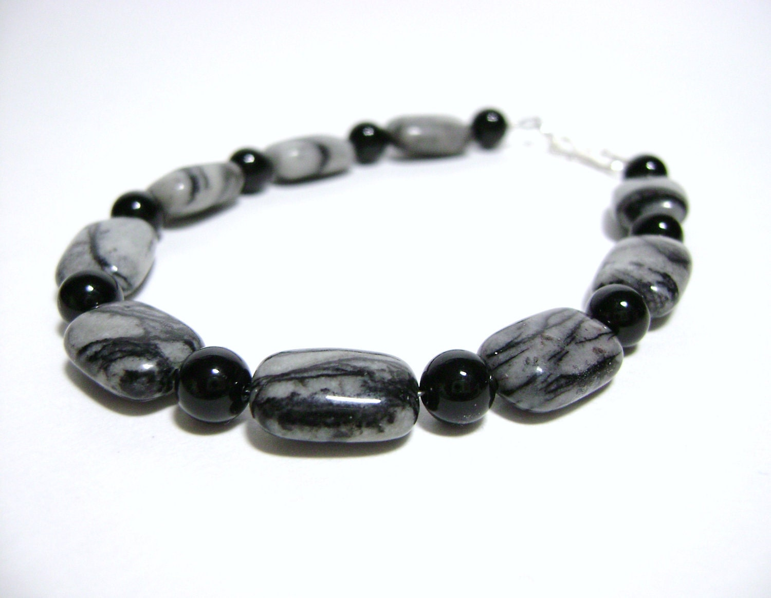 Zebra Jasper and Black Onyx bracelet with Sterling Silver rings and clasp