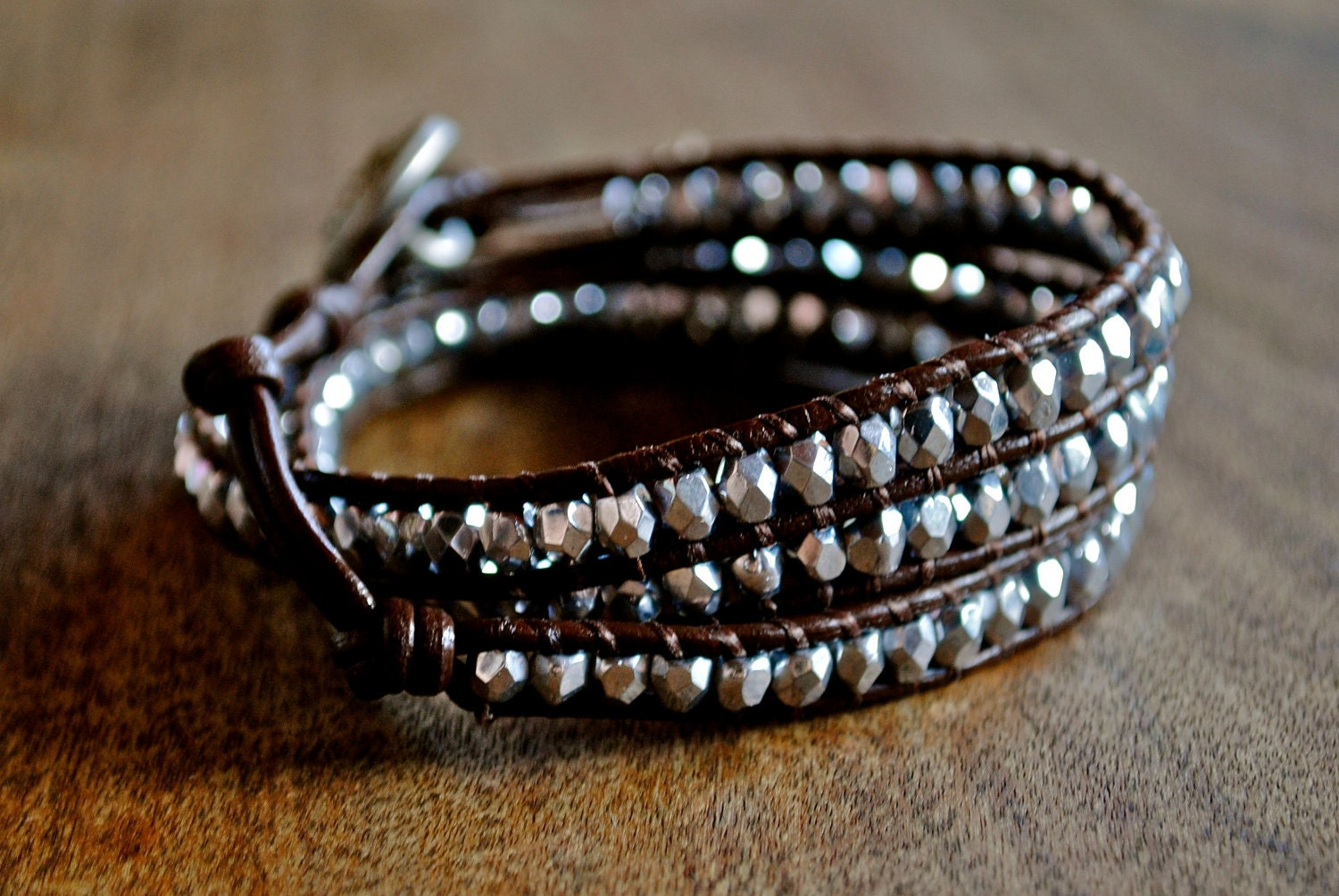 Silver and Brown Beaded Leather Wrap Bracelet Chan Luu Style
