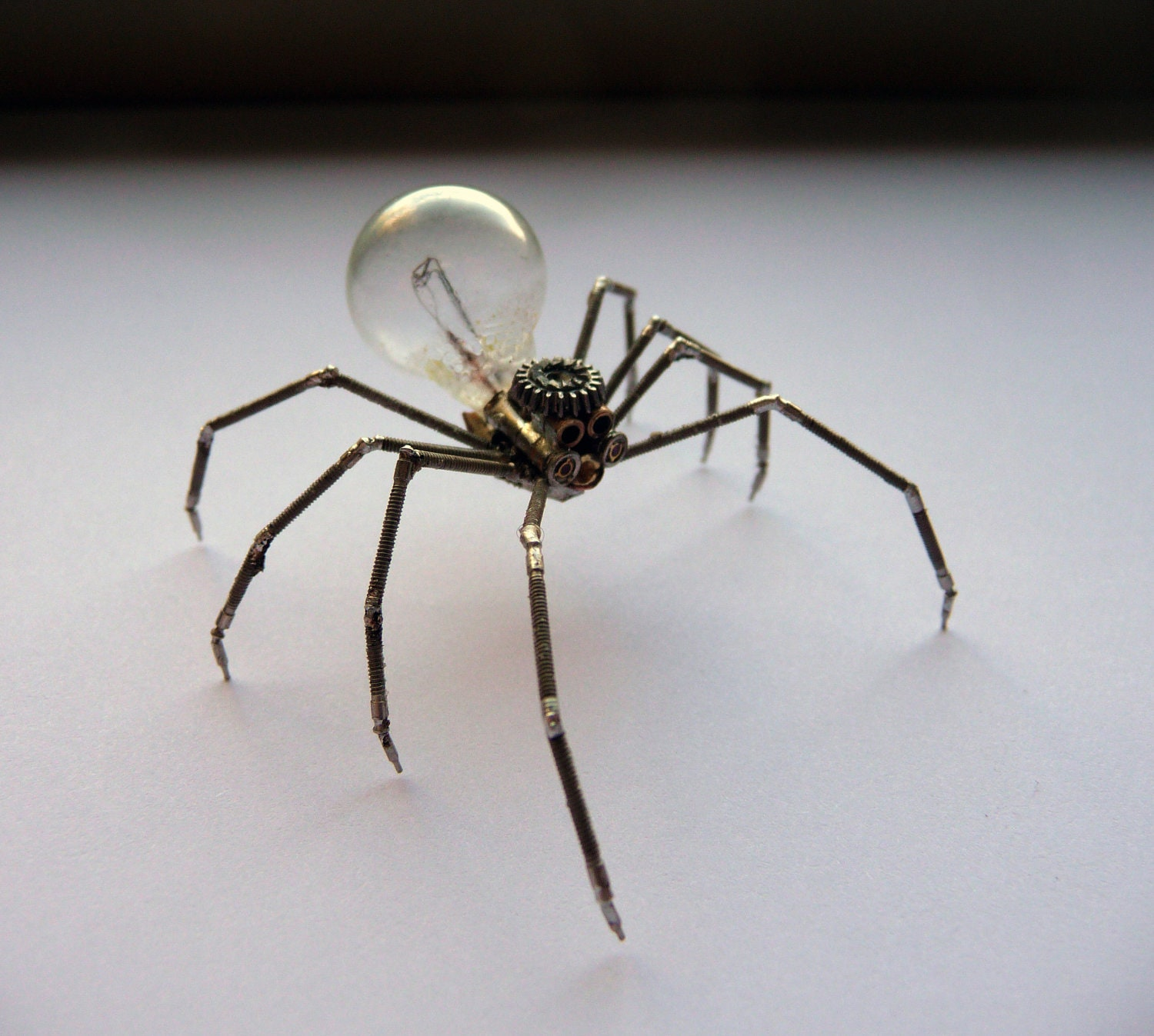 Mechanical Spider Sculpture No 3 Recycled Watch Parts Clockwork Arachnid Figurine Watch Stems Lightbulb Arthropod A Mechanical Mind
