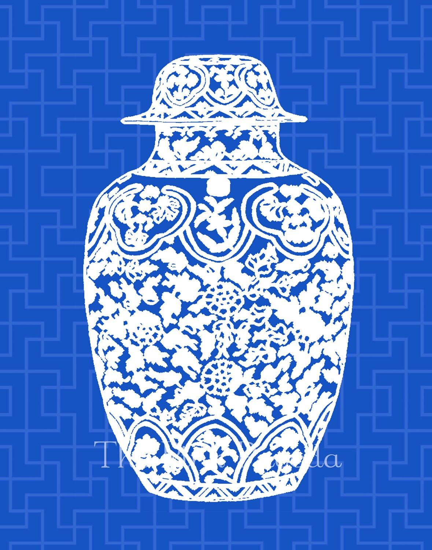 White Ming Chinoiserie Ginger Jar on Indigo Navy Blue Lattice 11x14 Giclee - thepinkpagoda