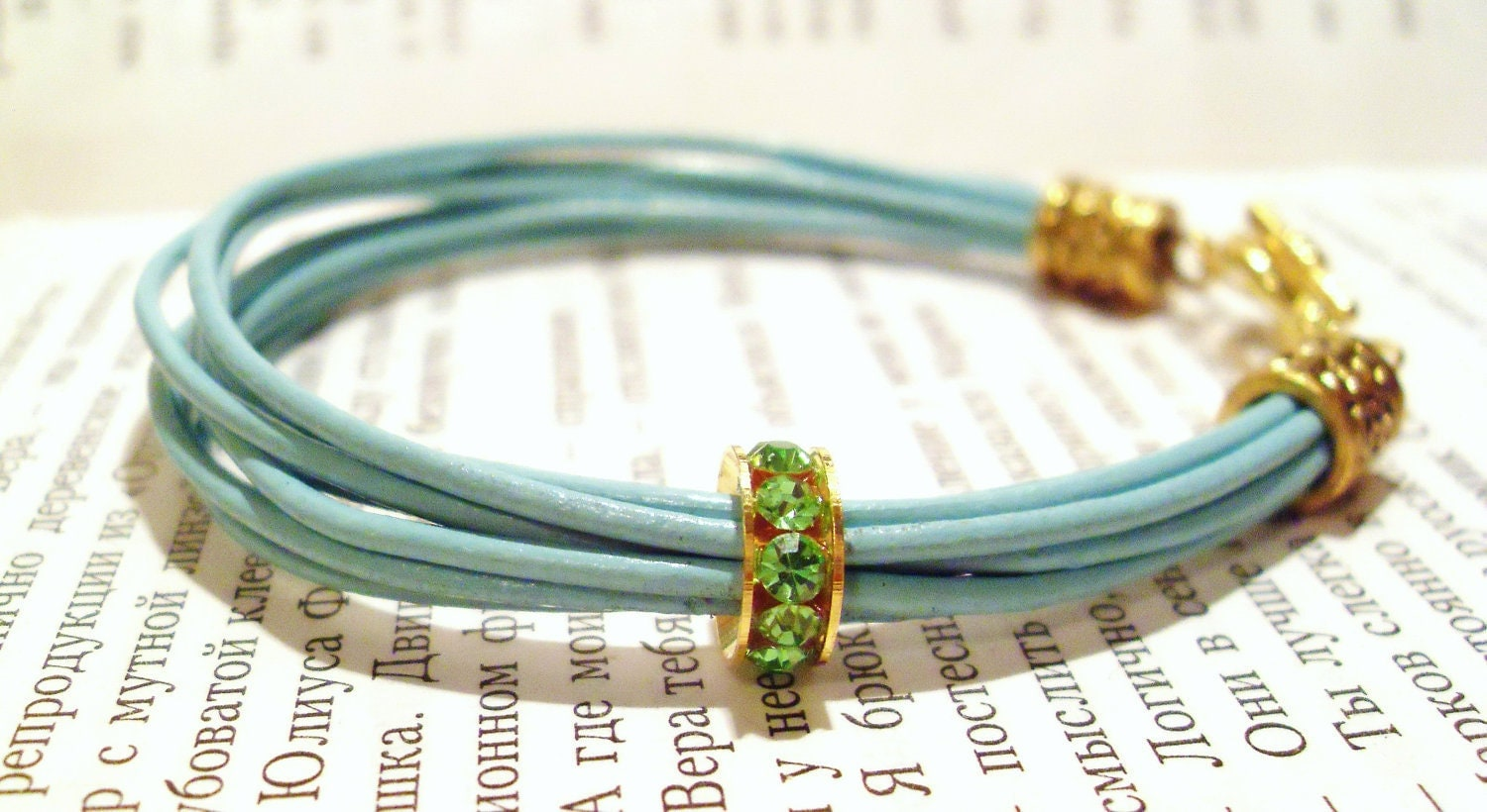 Cyan leather bangles with crystals - leather bracelet - AdrianaLV