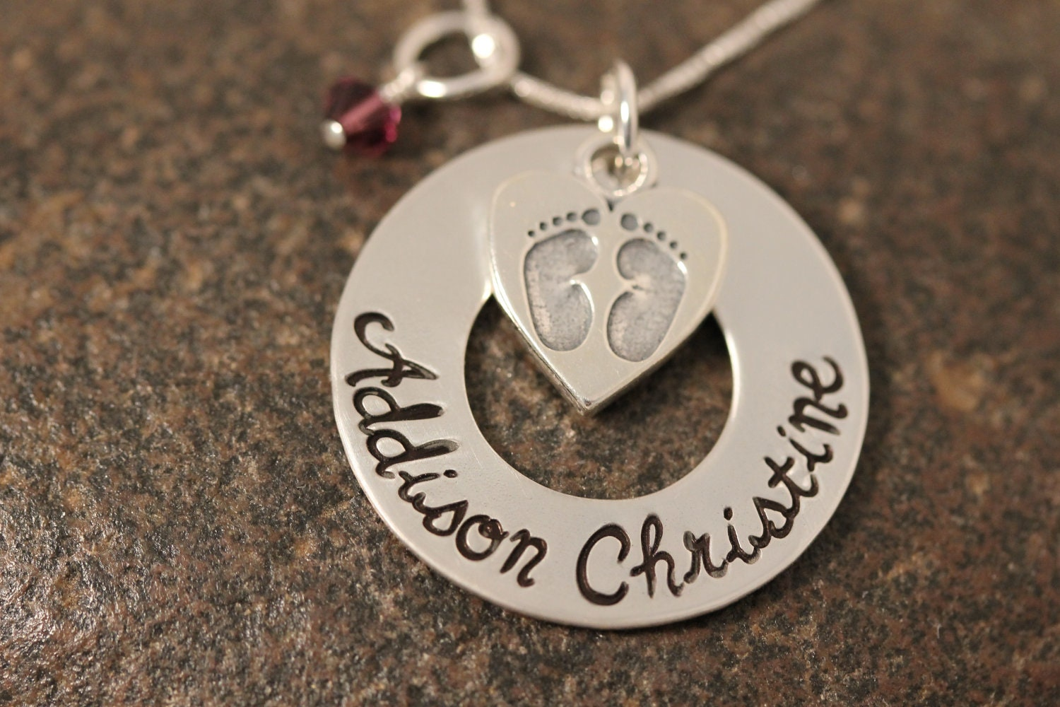 Custom Hand Stamped Sterling Silver Washer Necklace with Baby Feet Heart Charm perfect for new mothers or remembrance necklace