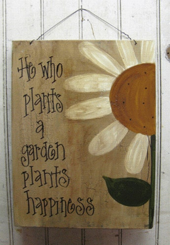Hand Painted Primitive Daisy Garden Sign