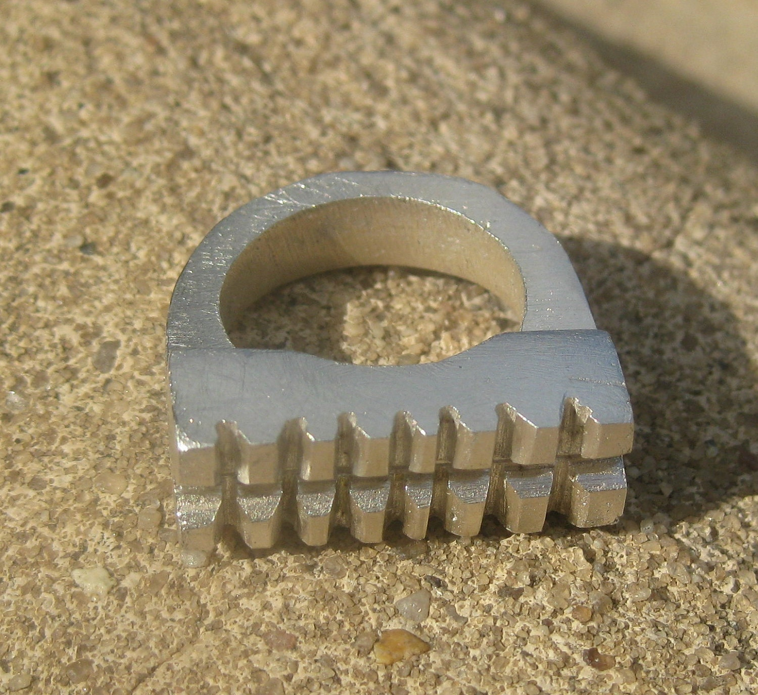 Double Grid Edge Chunky Silver Ring