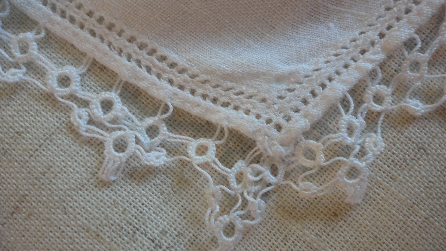 Vintage Linen Handkerchief White with Tatted Border Bridal - preservinghome