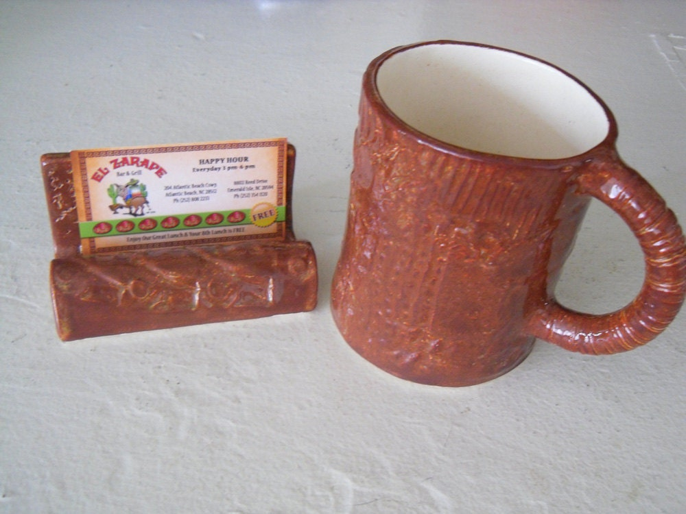 brown and green, business card holder and mug, office set, co worker gift, earthenware pottery