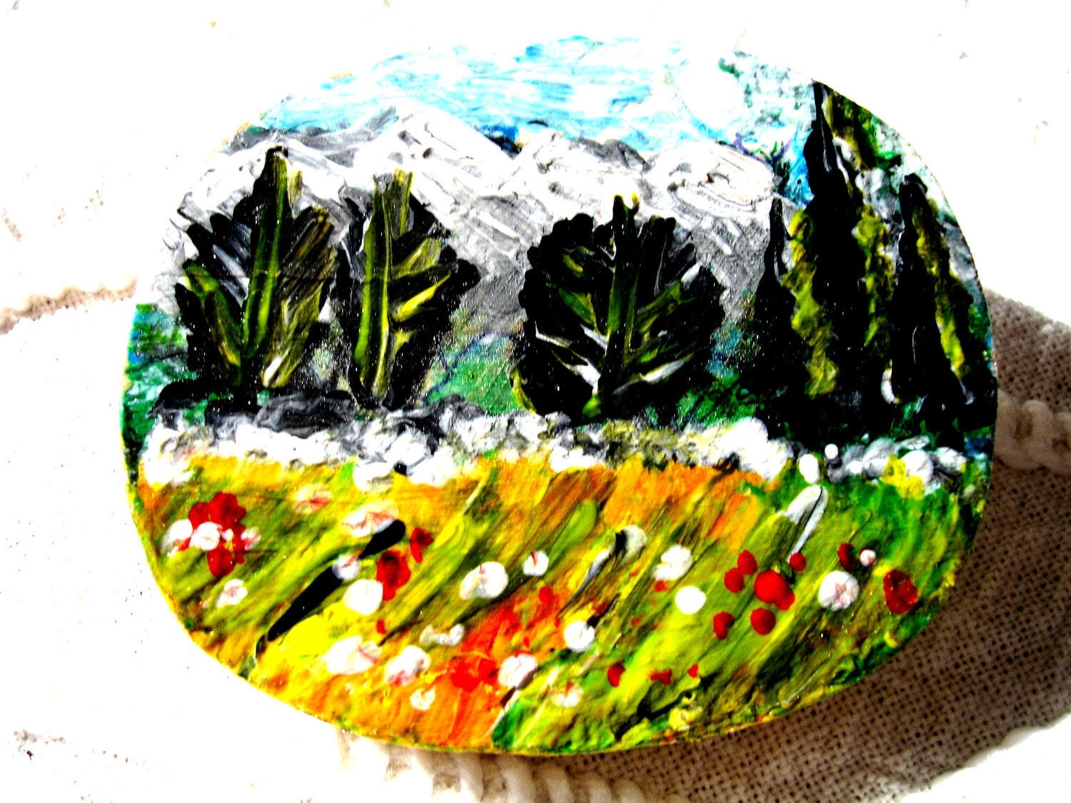 Gorgeous colourful mountain view landscape with hidden bird and poppies. hand painted brooch ooak on wooden oval shape country  style - Thesnowrose