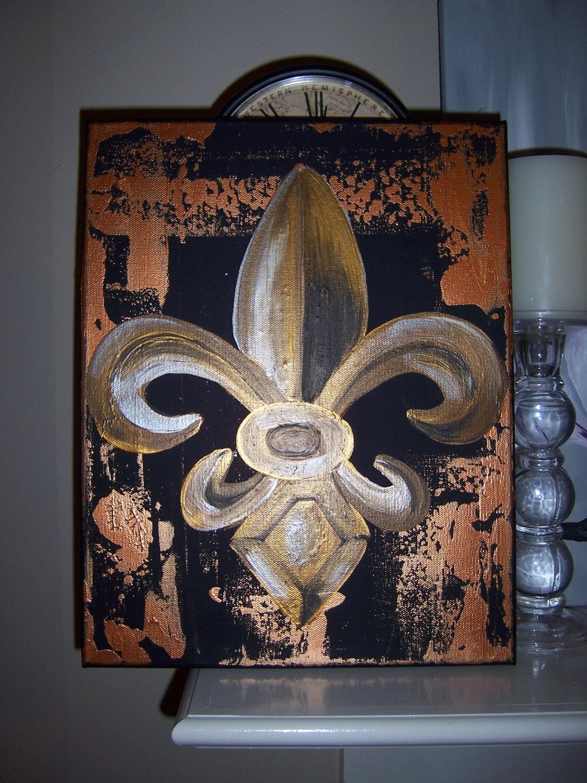 """Bronze Fleur De Lis 11"""" x 14"""" ORIGINAL"""